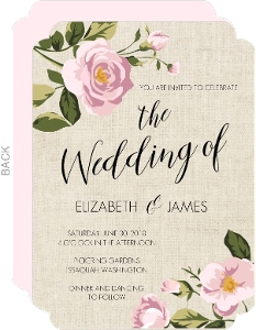 Soft Pink Flowers Wedding Invitation