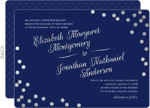 Silver Foil Confetti and Navy Wedding Invitation