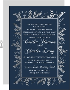 Navy and Silver Foil Leaf Frame Wedding Invitation