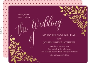 Floral Gold Foil Cabernet Wedding Invitation