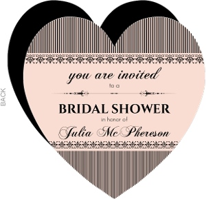 French Striped Heart Bridal Shower Invitation