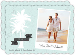 Rustic Palm Tree Beach Save The Date Announcement