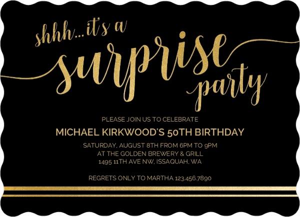 Shhh Its A Surprise 50th Birthday Invitation 50th
