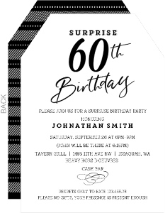 Classic Black & White Surprise 60th Birthday Invitation