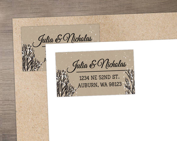 Rustic Winter Snow Custom Address Label