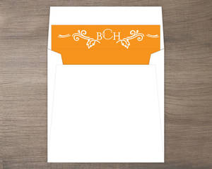 Hand Crafted Autumn Leaves Wedding Envelope Liner