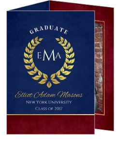 Red and Navy Laurel Graduation Announcement