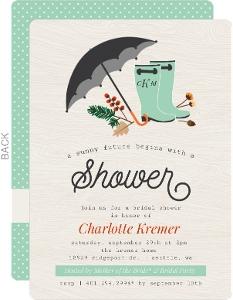 Rustic Rain Boots Bridal Shower Invitation