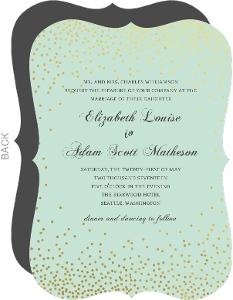 Mint and Gold Foil Confetti Wedding Invitation