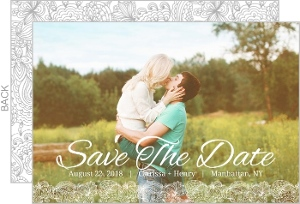 White Lace Pattern Save The Date