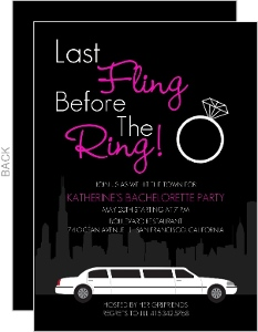 Black White And Pink Limo In The City Bachelorette Party Invite
