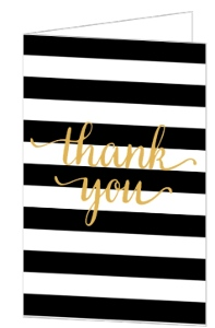Chic Black & White Modern Wedding Thank You Card
