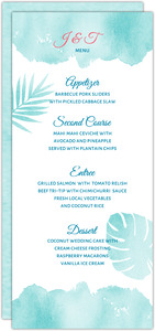 Tropical Watercolor Palms Wedding Menu Card