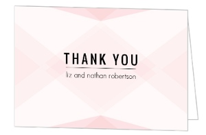 Geometric Pink Blush Pattern Wedding Thank You Card