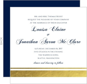 Classic Navy Gold Foil Stripe Wedding Invitation
