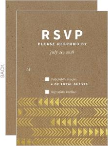Gold Foil Arrow Pattern Wedding Response Card