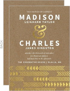 Gold Foil Arrow Pattern Wedding Invitation