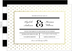 Gold Foil Modern Dot Frame Wedding Invitation