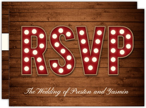 Marquee Rustic Wood Decor Wedding Response Card