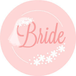 Pink Bridal Veil Custom Button
