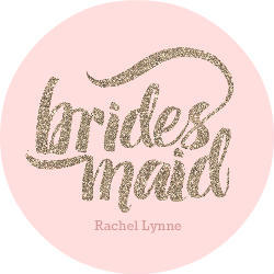 Pink And Faux Gold Glitter Bridesmaid Custom Button