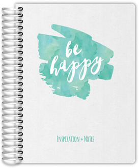 Turquoise Watercolor Be Happy Wedding Journal
