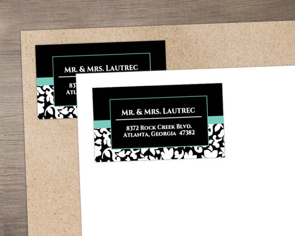Elegant Black White and Aqua Address Label