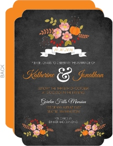 Fall Pumpkin Flowers Wedding Invitation