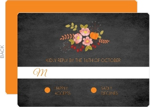 Fall Pumpkin Flowers Wedding Response Card