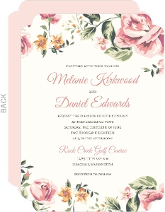 Great Pink Roses Wedding Invitation