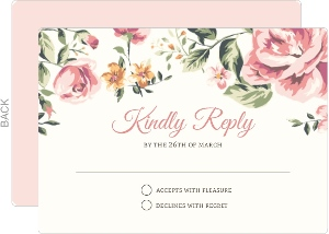 Pink Roses Wedding Response Card