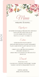 Pink Roses Wedding Menu Card