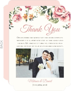 Pink Roses Wedding Thank You Card
