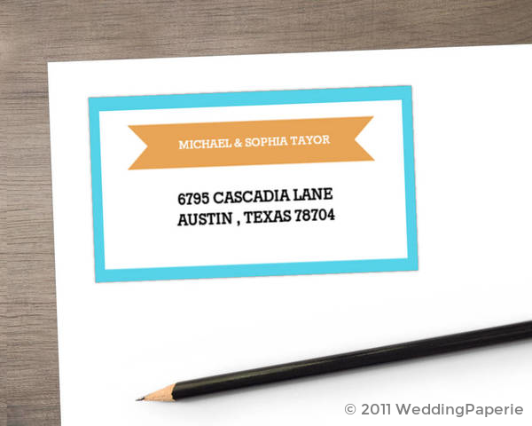Modern Orange and Aqua Stripes Address Label
