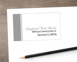 Classic White with Gray Stripe Address Label