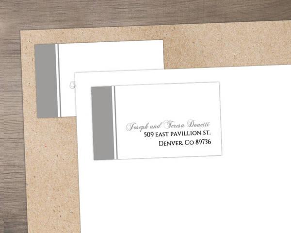 Classic White with Gray Stripe Address Label