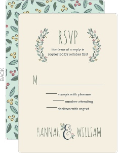 Botanical Wreath Wedding Response Card