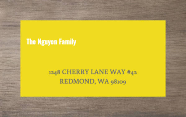Bright Yellow with White Address Label