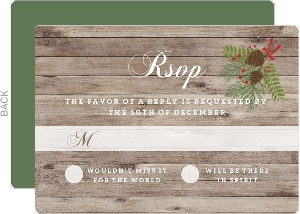 Christmas In The Woods Wedding Response Card