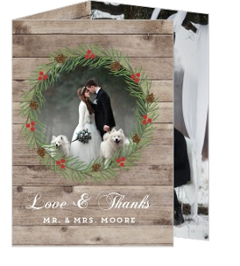 Christmas In The Woods Wedding Thank You Card