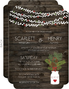 Rustic Christmas Flowers Wedding Invitation