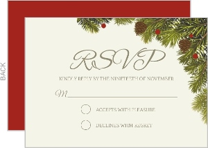 Corner Christmas Branches Wedding Response Card