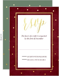 Wintry Christmas Foliage Wedding Response Card