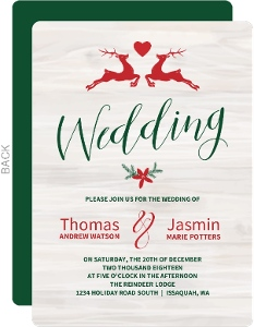 Christmas Reindeer Love Wedding Invitation