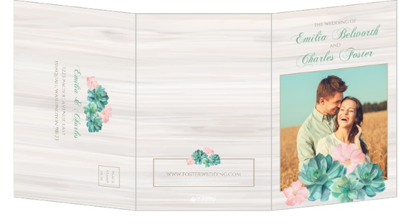 Watercolor Succulents Tri-fold Wedding Invitation