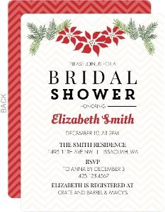 Poinsettia Holiday Decor Bridal Shower Invitation
