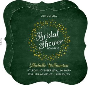 Winter Green Faux Foil Wreath Bridal Shower Invitation