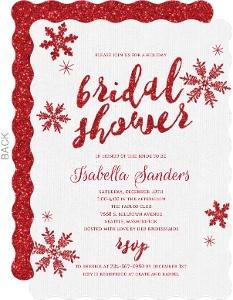 Faux Glitter Snowflake Bridal Shower Invitation