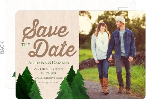 Rustic Watercolor Pine Tree Save The Date