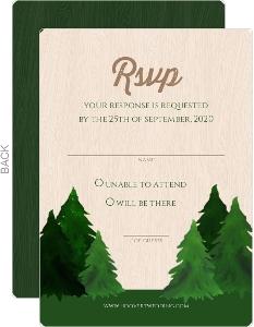 Rustic Watercolor Pine Tree Wedding Response Card